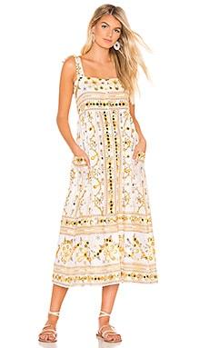 Tribal Print Tie Shoulder Midi Dress juliet dunn $334