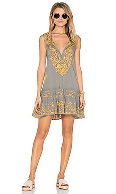 Sleeveless Shift Beach Dress in Taupe & Orange