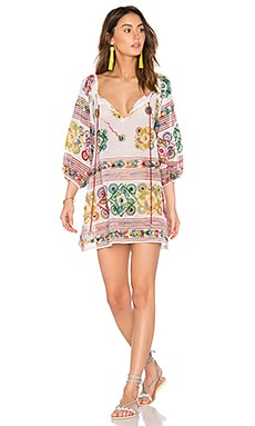 Cotton Tribal Boho Dress in White Multi