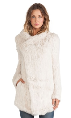 Oversized Rabbit Fur Jacket in Putty
