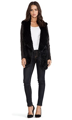 June Leather Sleeve Rabbit Fur Jacket in Black