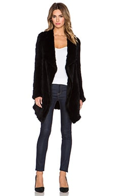 June Oversized Rabbit Fur Coat in Black