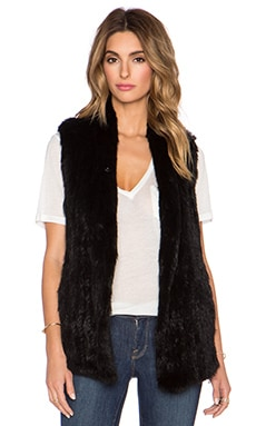 June Rabbit Fur Vest in Black