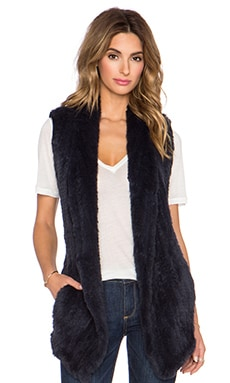 June Long Rabbit Fur Vest in Navy