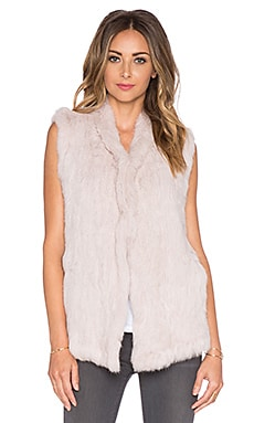 June Rabbit Fur Vest in Beige
