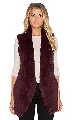 June Long Rabbit Fur Vest in Rouge