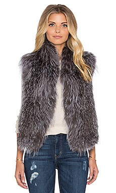 June Knitted Fox Fur Vest in Silver