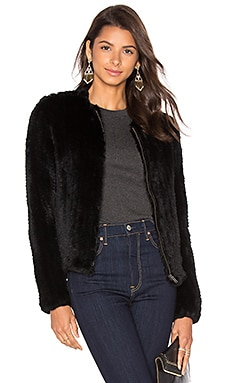 Zip Rabbit Fur Knitted Jacket in Black