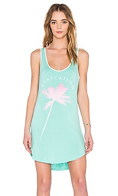 Junk Food Staycation Mini Dress in Sea Foam & Off White