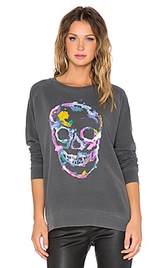 Junk Food Skull Pullover in Jet Black