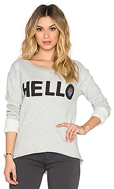 Junk Food Hello Sweatshirt in Light Heather Grey