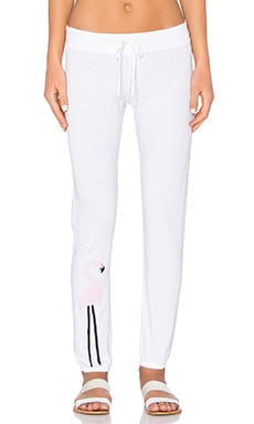 Junk Food Flamingo Sweatpant in Electric White