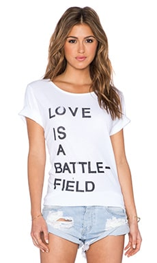 Junk Food Love Is A Battlefield Tee in Electric White