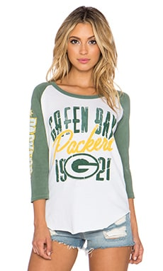 Junk Food Packers All American Raglan Tee in Sugar & Hunter