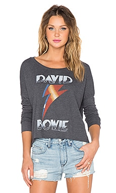 Junk Food David Bowie Long Sleeve Top in Jet Black