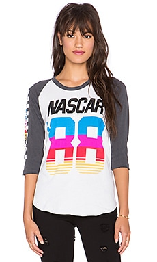 Junk Food Nascar Tee in Electric White & Jet Black