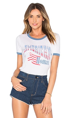 American Woman Tee in Electric White & Light Navy