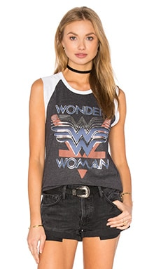 Junk Food Wonder Woman Tank in Jet Black & Electric White