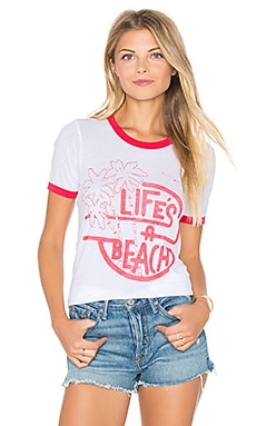 Junk Food Life's A Beach Tee in Electric White & Licorice