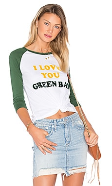 I Love You Green Bay Tee in Electric White & Hunter