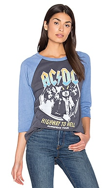 Junk Food ACDC Highway To Hell Tee in Jet Black & Light Navy
