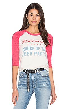 Junk Food Budweiser Baseball Tee in Ivory & Licorice
