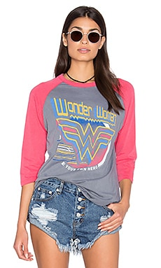 Junk Food Wonder Women Tee in Classic Grey & Licorice