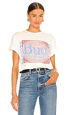 Budweiser Psych Pattern Tee in White Junk Food $44 NEW