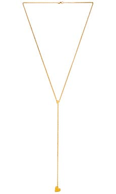 Jennifer Zeuner Double Heart Lariat Necklace in Yellow