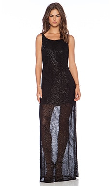 Karina Grimaldi Florencia Beaded Maxi Dress in Black