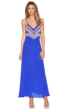 Karina Grimaldi Tina Beaded Maxi Dress in Royal Blue