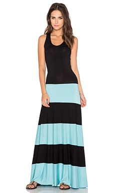 Karina Grimaldi Biscot Maxi Dress in Black & Mint