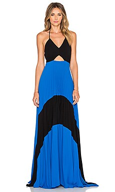 Karina Grimaldi Fabi Pleated Maxi Dress in Blue Black