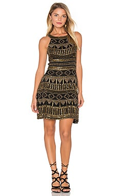 Mykonos Beaded Mini Dress in Black