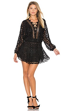 Cicci Lace Mini Dress en Noir