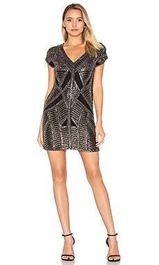 Marinola Beaded Mini Dress in Black