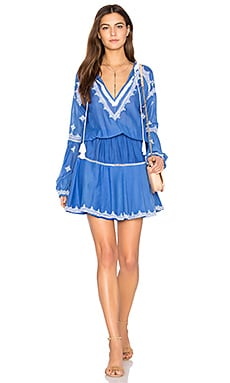 Tom Embroidered Mini Dress in Ocean