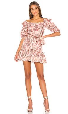 Martha Linen Print Mini Dress Karina Grimaldi $111