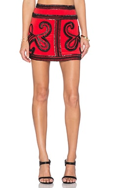 Karina Grimaldi Vero Beaded Skirt in Blood