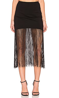 Karina Grimaldi Fringe Mini Skirt in Black