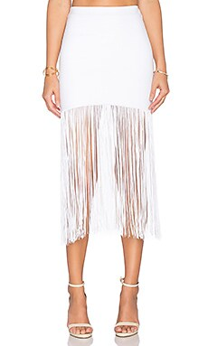 Ella Fringe Skirt in White