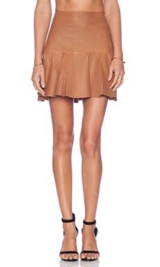 Karina Grimaldi Paloma Leather Skirt in Camel