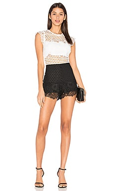 Loriet Lace Romper in White & Black