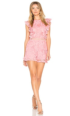 Avery Lace Romper in Rosi