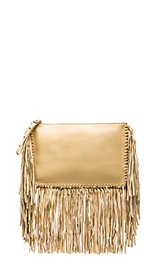 Karina Grimaldi Merino Fringe Clutch in Natural