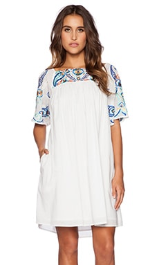 KAS New York Kajol Short Sleeve Mini Dress in White