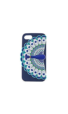 Silicone Peacock iPhone 7 Case en Carreaux bleu