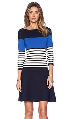 Kate Spade New York Striped Scuba Dress in Rich Navy Multi