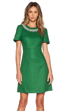 kate spade new york Embellished Bell Sleeve Dress in Lucky Green