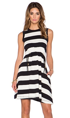 kate spade new york Stripe Dress in Black & Cream